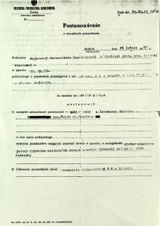 Postanowienie o zarządzeniu przeszukania, z dnia 26 lutego 1982 r.