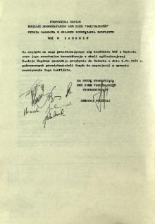 """Propozycja zapisu Komisji Negocjacyjnej MKR NSZZ """"Solidarność"""" Ziemi Radomskiej w sprawie rozwiązania konfliktu WSI Radom"""