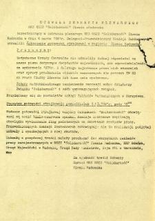 """Uchwała Zebrania Plenarnego MKZ NSZZ """"Solidarność"""" Ziemia Radomska, z dnia 6 marca 1981 r."""