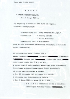 Wyrok w Imieniu Rzeczpospolitej, z dnia 2 lutego 1994 r.