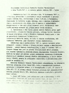 Stanowisko Konferencji Rektorów Uczelni Technicznych z dnia 10 XI 1981 r. w sprawie wyboru rektora WSI - Radom