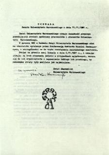 Uchwała Senatu Uniwersytetu Warszawskiego z dnia 11.11.1981 r.