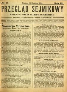 Przegląd Sejmikowy : Urzędowy Organ Sejmiku Radomskiego, 1924, R. 3, nr 15