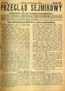 Przegląd Sejmikowy : Urzędowy Organ Sejmiku Radomskiego, 1924, R. 3, nr 16
