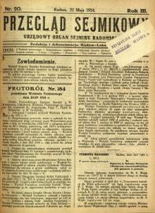 Przegląd Sejmikowy : Urzędowy Organ Sejmiku Radomskiego, 1924, R. 3, nr 20