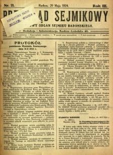 Przegląd Sejmikowy : Urzędowy Organ Sejmiku Radomskiego, 1924, R. 3, nr 21