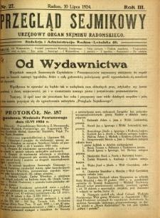 Przegląd Sejmikowy : Urzędowy Organ Sejmiku Radomskiego, 1924, R. 3, nr 27