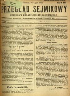 Przegląd Sejmikowy : Urzędowy Organ Sejmiku Radomskiego, 1924, R. 3, nr 29