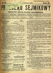Przegląd Sejmikowy : Urzędowy Organ Sejmiku Radomskiego, 1924, R. 3, nr 31