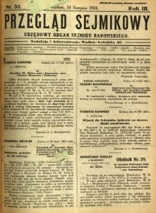 Przegląd Sejmikowy : Urzędowy Organ Sejmiku Radomskiego, 1924, R. 3, nr 32