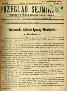 Przegląd Sejmikowy : Urzędowy Organ Sejmiku Radomskiego, 1924, R. 3, nr 42