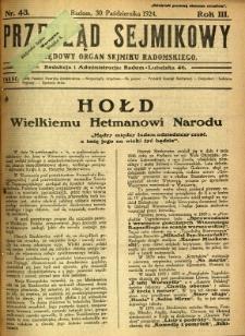 Przegląd Sejmikowy : Urzędowy Organ Sejmiku Radomskiego, 1924, R. 3, nr 43