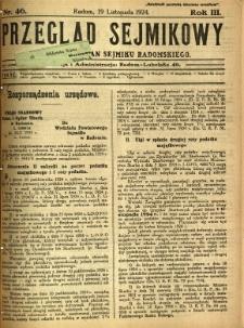 Przegląd Sejmikowy : Urzędowy Organ Sejmiku Radomskiego, 1924, R. 3, nr 46