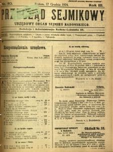 Przegląd Sejmikowy : Urzędowy Organ Sejmiku Radomskiego, 1924, R. 3, nr 50