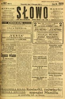 Słowo, 1923, R. 2, nr 182