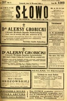Słowo, 1923, R. 2, nr 207