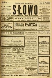 Słowo, 1923, R. 2, nr 216