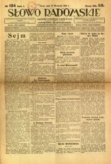 Słowo Radomskie, 1922, R. 1, nr 134