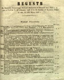 Regestr do Dziennika Urzędowego Gubernii Radomskiej za kwartał 1szy 1845 r. to jest: od N. 1 do N. 13 włącznie