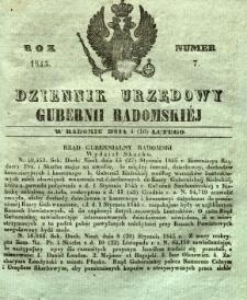 Dziennik Urzędowy Gubernii Radomskiej, 1845, nr 7