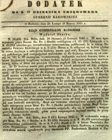 Dziennik Urzędowy Gubernii Radomskiej, 1845, nr 10, dod. I