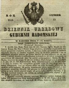 Dziennik Urzędowy Gubernii Radomskiej, 1845, nr 13