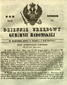 Dziennik Urzędowy Gubernii Radomskiej, 1845, nr 14