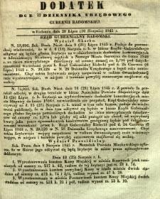 Dziennik Urzędowy Gubernii Radomskiej, 1845, nr 32, dod. I