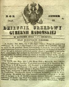 Dziennik Urzędowy Gubernii Radomskiej, 1845, nr 33