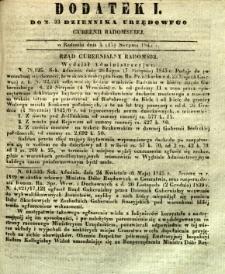 Dziennik Urzędowy Gubernii Radomskiej, 1845, nr 33, dod. I