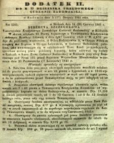 Dziennik Urzędowy Gubernii Radomskiej, 1845, nr 33, dod. II