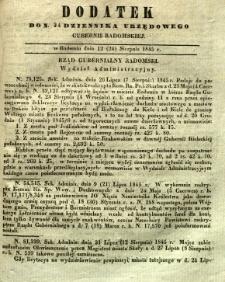 Dziennik Urzędowy Gubernii Radomskiej, 1845, nr 34, dod. I