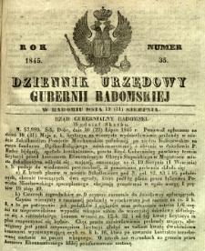 Dziennik Urzędowy Gubernii Radomskiej, 1845, nr 35