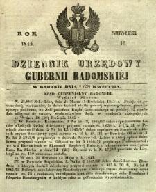 Dziennik Urzędowy Gubernii Radomskiej, 1845, nr 16