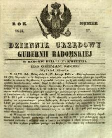 Dziennik Urzędowy Gubernii Radomskiej, 1845, nr 17