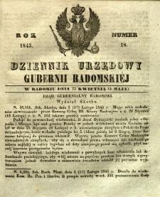 Dziennik Urzędowy Gubernii Radomskiej, 1845, nr 18