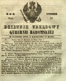 Dziennik Urzędowy Gubernii Radomskiej, 1845, nr 19