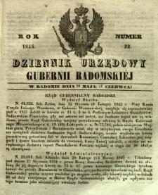 Dziennik Urzędowy Gubernii Radomskiej, 1845, nr 22