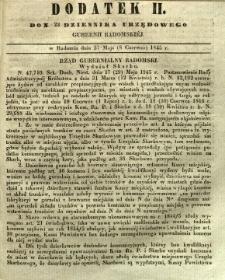 Dziennik Urzędowy Gubernii Radomskiej, 1845, nr 23, dod. II