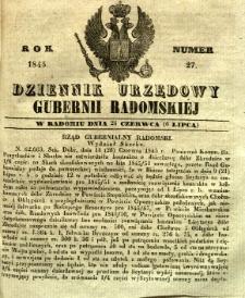 Dziennik Urzędowy Gubernii Radomskiej, 1845, nr 27