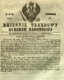 Dziennik Urzędowy Gubernii Radomskiej, 1845, nr 31