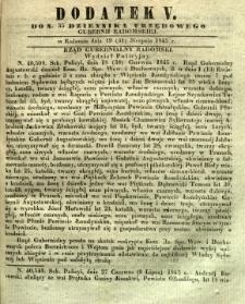 Dziennik Urzędowy Gubernii Radomskiej, 1845, nr 35, dod. V