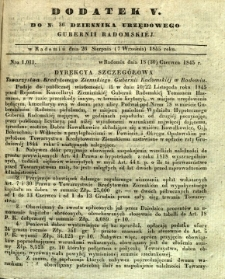 Dziennik Urzędowy Gubernii Radomskiej, 1845, nr 36, dod. V
