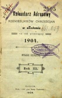 Kalendarz adresowy rzemieślników chrześcijan w Radomiu na rok przestępny 1904