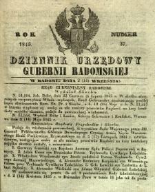 Dziennik Urzędowy Gubernii Radomskiej, 1845, nr 37