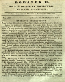 Dziennik Urzędowy Gubernii Radomskiej, 1845, nr 40, dod. II