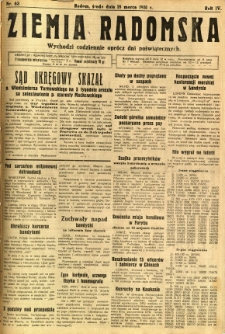 Ziemia Radomska, 1931, R. 4, nr 63