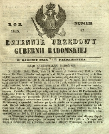 Dziennik Urzędowy Gubernii Radomskiej, 1845, nr 42