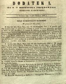 Dziennik Urzędowy Gubernii Radomskiej, 1845, nr 51, dod. I