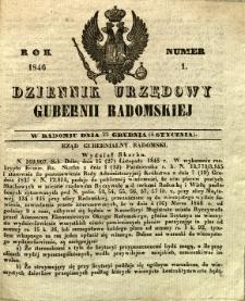 Dziennik Urzędowy Gubernii Radomskiej, 1846, nr 1